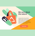 we care about nature green eco web page vector image