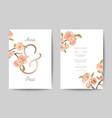 wedding invitation card front back side set vector image