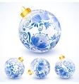 White christmas balls with blue floral ornament vector image
