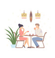 woman and a man are drinking coffee in a cafe vector image vector image