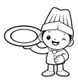 black and white cartoon cook mascot holding a vector image