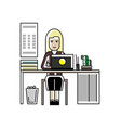 blonde secretary working at laptop in office vector image