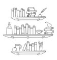 books and other things on the shelves vector image
