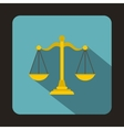 Gold scales of justice icon flat style vector image