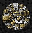 Music dj concept icon set vinyl cd shape gold vector image