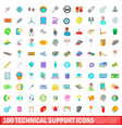 100 technical support icons set cartoon style vector image vector image