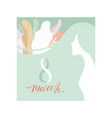 8 march greeting card in pastel colors party vector image vector image