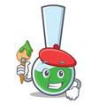 artist tube laboratory character cartoon vector image