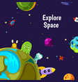 Background with cartoon space planets and