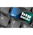 big bucks on computer keyboard key button vector image vector image