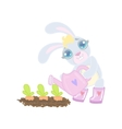 Bunny Planting The Carrots vector image vector image