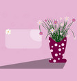 card scene with vase and flowers vector image vector image