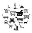 cart types icons set simple style vector image