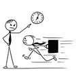cartoon of man running late for work and his boss vector image