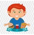child cartoon boy fast food vector image