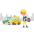 child driver stand car taxi on city background vector image