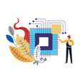 computer technology man worker building vector image vector image