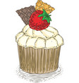 cupcake with wawwle and strawberry vector image vector image