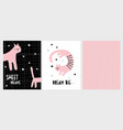 cute hand drawn pink cats vector image