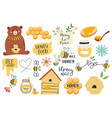 cute honey symbols hand drawn honey jar vector image vector image