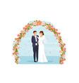 cute wedding couple bride and groom vector image vector image