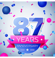 Eighty seven years anniversary celebration on grey vector image vector image