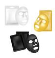 facial sheet mask and sachet mockup set vector image