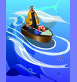 fat fisherman catching a big fish in boat on sea vector image