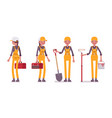 female professional busy worker in bright yellow vector image