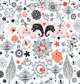 graphic floral texture with elephants vector image