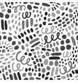 hand drawn grayscale paint drops and dots vector image