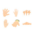 hand icon set cartoon style vector image vector image