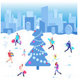 happy christmas holiday winter people walking at vector image vector image
