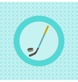 Hockey stick and puck flat icon vector image vector image