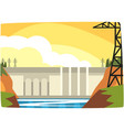 hydroelectric power plant hydro energy industrial vector image