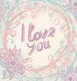 I love you Greeting Card template in vintage hand vector image vector image