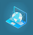 laptop with world wide web emblem 3d model vector image