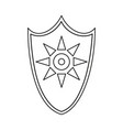 line art black and white sun shield vector image vector image