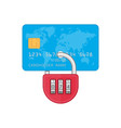 lock on credit card vector image vector image