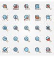 Magnifying glass colorful icons vector image