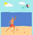 man on beach having fun with kite sand sea vector image vector image