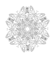 Monochrome Mendie Mandala with butterflies and vector image vector image
