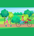 mother daughter riding bicycle in tree park vector image vector image