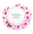 natural greeting card with pink flowers and vector image vector image