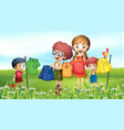 nature scene background with family doing laundry vector image vector image