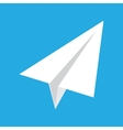 origami paper airplane on blue background vector image vector image