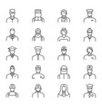 people avatars characters staff black thin line vector image