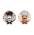 portrait of happy chef cook cuisine cooking vector image vector image
