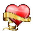 Red heart with golden ribbon vector image vector image