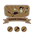 repair shop emblem vector image vector image